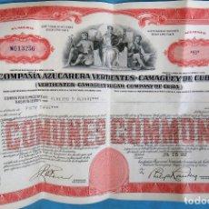 Coleccionismo Acciones Extranjeras: ACCION COMPAÑIA AZUCARERA VERTIENTES CAMAGUEY , 53 ACCIONES , CUBA , 1952 , ORIGINAL , AC. Lote 169336520