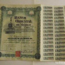 Coleccionismo Acciones Extranjeras: 1900, ACCIÓN BANCO ORIENTAL DE MÉXICO. Lote 172090473