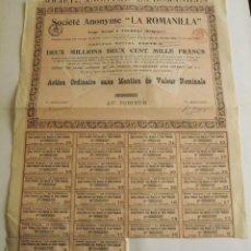 Coleccionismo Acciones Extranjeras: 1913, ACCIÓN SOCIÉTÉ ANONYME LA ROMANILLA. Lote 57241269