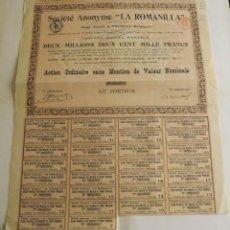 Coleccionismo Acciones Extranjeras: 1913, ACCIÓN SOCIÉTÉ ANONYME LA ROMANILLA. Lote 57241277
