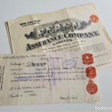 Coleccionismo Acciones Extranjeras: 1946-1951 MOTOR CYCLE POLICY PEARL ASSURANCE COMPANY ACCION LONDON. Lote 177750423