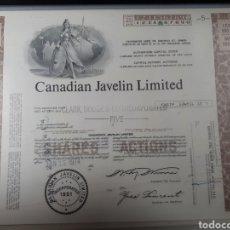 Coleccionismo Acciones Extranjeras: ACCION CANADIAN JAVELIN LIMITED AÑO 1951. Lote 178360353