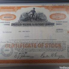 Coleccionismo Acciones Extranjeras: ACCION AMERICAN MACHINE AND FOUNDRY COMPANY AÑO 1964. Lote 178360597