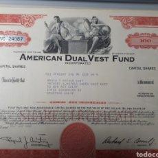 Coleccionismo Acciones Extranjeras: AMERICAN DUAL VEST FUND AÑO 1969. Lote 178361140