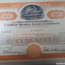 Coleccionismo Acciones Extranjeras: ACCION UNITED STATES LINES COMPANY AÑO 1955. Lote 178361782