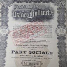 Coleccionismo Acciones Extranjeras: ACCION LES NOUBELLES USINES BOLLINCKR. Lote 178363095