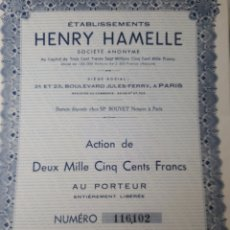 Coleccionismo Acciones Extranjeras: ACCION ETABLISSEMENTS HENRY HAMELLE. Lote 178363718