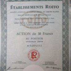 Coleccionismo Acciones Extranjeras: ETABLISSEMENTS ROFO AÑO 1973. Lote 178363923