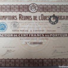 Coleccionismo Acciones Extranjeras: ACCION COMPTOIRS REUNIS DE L OUEST AFRICAN. Lote 178365825