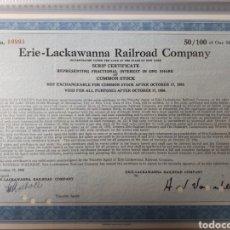 Coleccionismo Acciones Extranjeras: ACCION ERIE LACKAWANNA RAILROAD COMPANY AÑO 1960. Lote 178366167