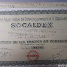 Coleccionismo Acciones Extranjeras: ACCION SOCALDEX. Lote 178379031