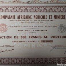 Coleccionismo Acciones Extranjeras: ACCION COMPAGNIE AFRICAINE AGRICOLE ET MINIERE. Lote 178379670
