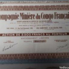 Coleccionismo Acciones Extranjeras: ACCION COMPAGNIE MINIERE DU CONGO FRANCAIS. Lote 178379887
