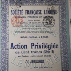 Coleccionismo Acciones Extranjeras: ACCION SOCIETE FRANCAISE LEMOINE AÑO 1926. Lote 178380136