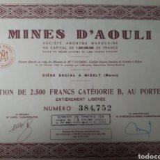 Coleccionismo Acciones Extranjeras: ACCION MINES D AOULI AÑO 1953. Lote 178380451
