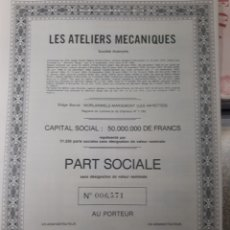 Coleccionismo Acciones Extranjeras: ACCION LES ATELIERS MECANIQUES. Lote 178382316