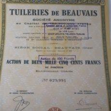 Coleccionismo Acciones Extranjeras: ACCION TUILERIES DE BEAUVAIS. Lote 178382468