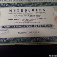 Coleccionismo Acciones Extranjeras: ACCION METROCOLEX. Lote 178382552