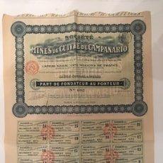 Collezionismo Azioni Internazionali: ACCIONES Y CUPONES: MINES DE CUIVRE DE CAMPANARIO 1906 FRANCIA. Lote 178625560