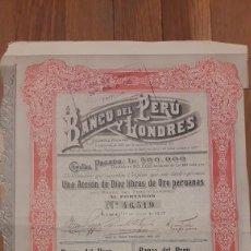 Coleccionismo Acciones Extranjeras: BANCO DEL PERÚ Y LONDRES (LIMA 1907). Lote 179115212