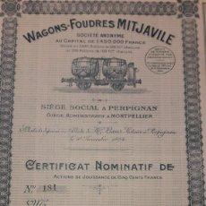 Coleccionismo Acciones Extranjeras: WAGONS-FOUDRES MITJAVILE (PERPIGNAN). Lote 179116633