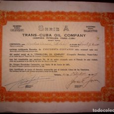 Coleccionismo Acciones Extranjeras: ACCION TRANS-CUBA OIL COMPANY - TITULO DE 25 ACCIONES - LA HABANA (CUBA) 1954. Lote 180390796