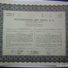 Coleccionismo Acciones Extranjeras: ACCION - PERFORACIONES ORO NEGRO - TITULO DE 150 ACCIONES - LA HABANA - CUBA - 1959 - RARA. Lote 180391297