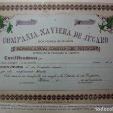 Coleccionismo Acciones Extranjeras: ACCION - COMPAÑIA NAVIERA DE JUCARO - LA HABANA - CUBA - RARA -. Lote 180391593