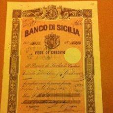 Coleccionismo Acciones Extranjeras: BANCO DE SICILIA - FEDE DE CREDITO 1884. Lote 181862080