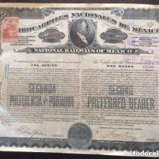 Coleccionismo Acciones Extranjeras: FERROCARRILES NACIONALES DE MEXICO 1910 - 2 ACCIONES CORRELATIVAS Nº R41144 Y R41145. Lote 181992895