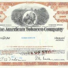 Coleccionismo Acciones Extranjeras: 100 ACCIONES - THE AMERICAN TOBACCO COMPANY - 1969. Lote 182829467