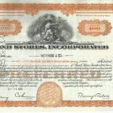 Coleccionismo Acciones Extranjeras: 100 ACCIONES - BOND STORES, INCORPORATED - 1945. Lote 182829738