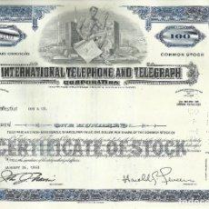 Coleccionismo Acciones Extranjeras: 100 ACCIONES - INTERNATIONAL TELEPHONE AND TELEGRAPH CORPORATION - 1968. Lote 182830001