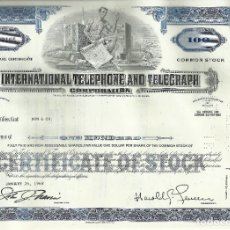 Coleccionismo Acciones Extranjeras: 100 ACCIONES - INTERNATIONAL TELEPHONE AND TELEGRAPH CORPORATION - 1968. Lote 182830041