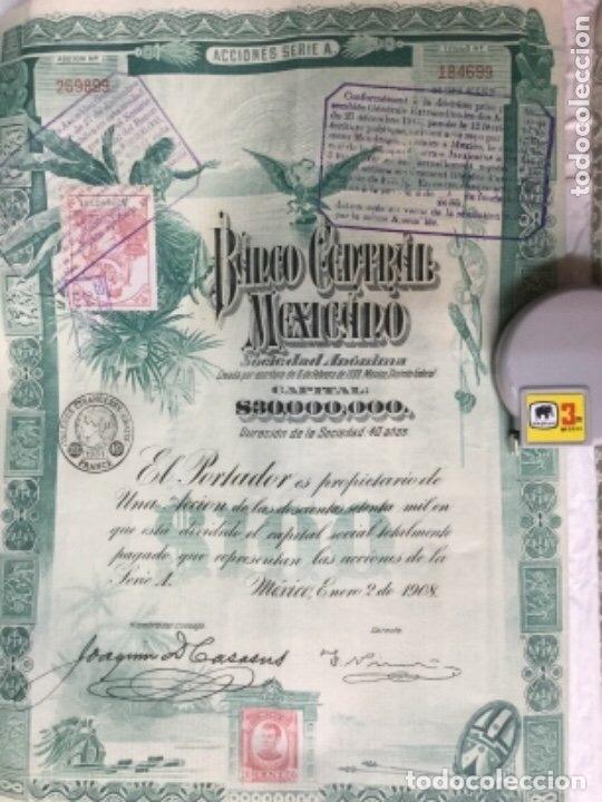 BANCO CENTRAL MEXICANO 1908 SERIE A - 2 ACCIONES CORRELATIVAS CON CUPONES - 40X30CM (Coleccionismo - Acciones Extranjeras )