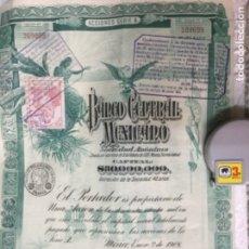 Coleccionismo Acciones Extranjeras: BANCO CENTRAL MEXICANO 1908 SERIE A - 2 ACCIONES CORRELATIVAS CON CUPONES - 40X30CM. Lote 183273106