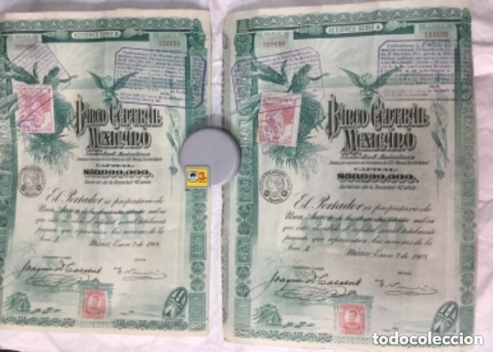 Coleccionismo Acciones Extranjeras: BANCO CENTRAL MEXICANO 1908 SERIE A - 2 ACCIONES CORRELATIVAS CON CUPONES - 40x30cm - Foto 2 - 183273106