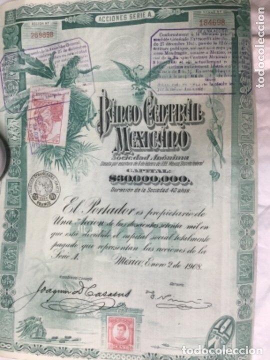 Coleccionismo Acciones Extranjeras: BANCO CENTRAL MEXICANO 1908 SERIE A - 2 ACCIONES CORRELATIVAS CON CUPONES - 40x30cm - Foto 3 - 183273106