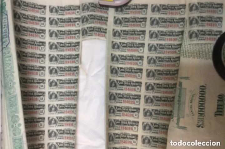 Coleccionismo Acciones Extranjeras: BANCO CENTRAL MEXICANO 1908 SERIE A - 2 ACCIONES CORRELATIVAS CON CUPONES - 40x30cm - Foto 4 - 183273106