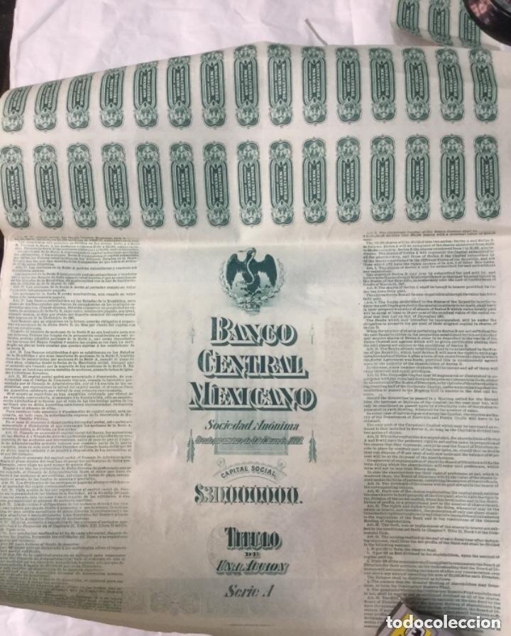 Coleccionismo Acciones Extranjeras: BANCO CENTRAL MEXICANO 1908 SERIE A - 2 ACCIONES CORRELATIVAS CON CUPONES - 40x30cm - Foto 5 - 183273106