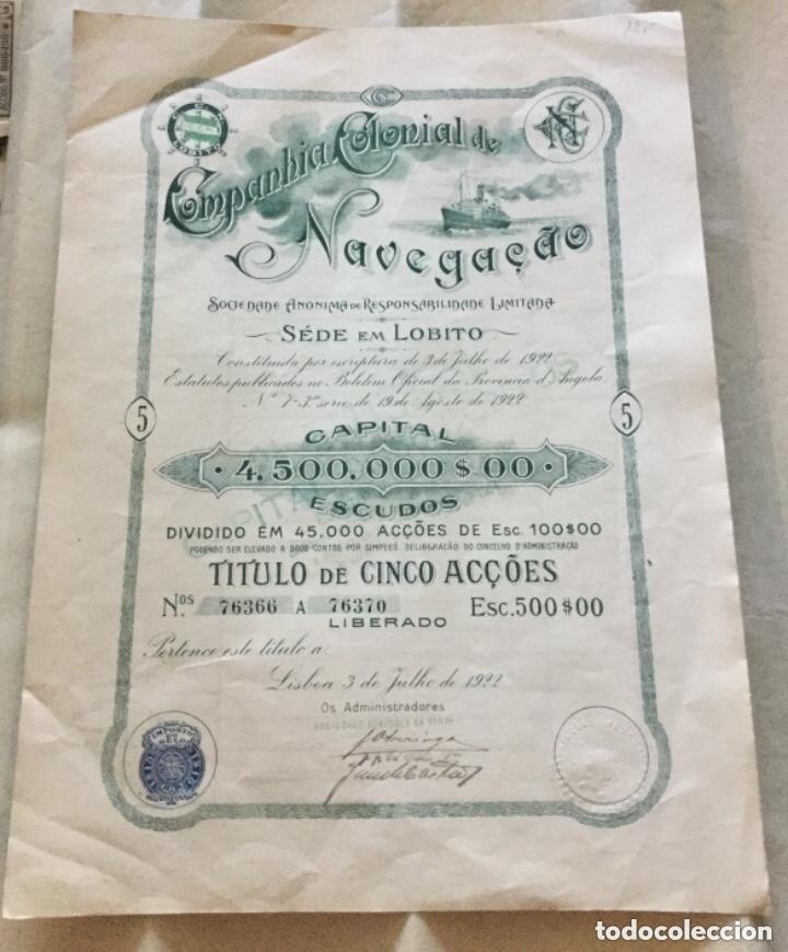 ACCION DE LA COMPANHIA COLONIAL DE NAVEGAÇAO - LISBOA PORTUGAL 1922 - 36,5X27CM (Coleccionismo - Acciones Extranjeras )