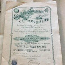 Coleccionismo Acciones Extranjeras: ACCION DE LA COMPANHIA COLONIAL DE NAVEGAÇAO - LISBOA PORTUGAL 1922 - 36,5X27CM. Lote 183501395
