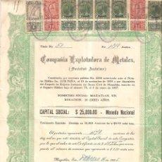 Coleccionismo Acciones Extranjeras: MAZATLÁN (MÉXICO) 1935 COMPAÑÍA EXPLOTADORA DE METALES . Lote 183713423
