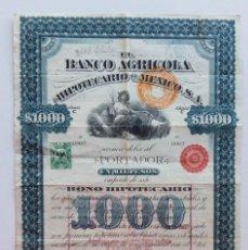 Coleccionismo Acciones Extranjeras: 1906 BONO DEL BANCO AGRÍCOLA HIPOTECARIO DE MEXICO 1000 PESOS. Lote 188474716