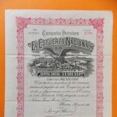 Coleccionismo Acciones Extranjeras: ACCION - COMPAÑIA PETROLERA - EL ESFUERZO NACIONAL - MEXICO - AÑO 1916 - .. L507. Lote 190021825