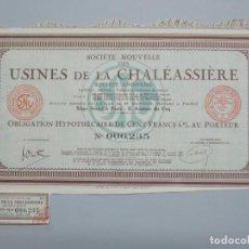 Coleccionismo Acciones Extranjeras: ACCION OBLIGACION - USINES DE LA CHALÉASSIÈRE - FRANCIA , PARIS - AÑO 1927 - .. L533. Lote 190168672