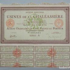 Coleccionismo Acciones Extranjeras: ACCION OBLIGACION - USINES DE LA CHALÉASSIÈRE - FRANCIA , PARIS - AÑO 1927 - .. L534. Lote 190168900