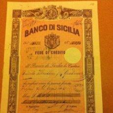 Coleccionismo Acciones Extranjeras: BANCO DE SICILIA - FEDE DE CREDITO 1884. Lote 190533930