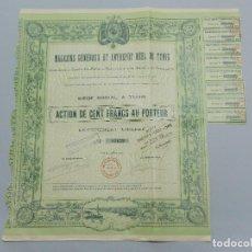 Coleccionismo Acciones Extranjeras: ACCION , OBLIGACION - MAGASINS GÉNÉRAUX ET ENTREPOT REEL DE TUNIS - AÑO 1907 .. L607. Lote 191289265