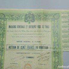 Coleccionismo Acciones Extranjeras: ACCION , OBLIGACION - MAGASINS GÉNÉRAUX ET ENTREPOT REEL DE TUNIS - AÑO 1907 .. L608. Lote 191289403